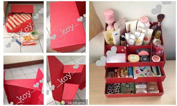 DIY กล่องเครื่องสำอาง จากกล่องรองเท้าเหลือใช้