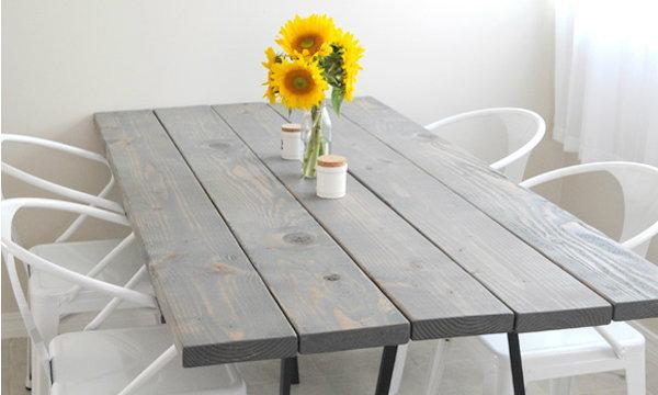 DIY โต๊ะไม้สน + ขา ikea