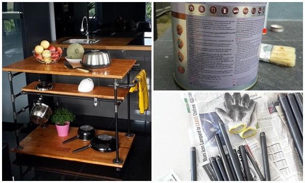 รีวิว DIY โต๊ะรถเข็นในครัวสไตล์ Industrial
