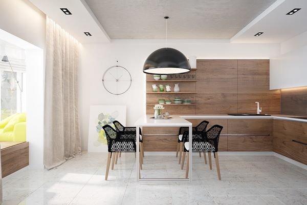 25 แบบห้องครัว โทนสีขาว ตกแต่งด้วยเฟอร์นิเจอร์ไม้