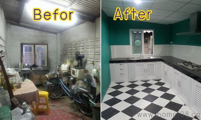 รีโนเวทห้องครัวอายุ 20+ กลายเป็นครัวใหม่ใสปิ๊งด้วยงบประมาณ 60,000 บาท พร้อมราคาวัสดุ+ค่าแรง
