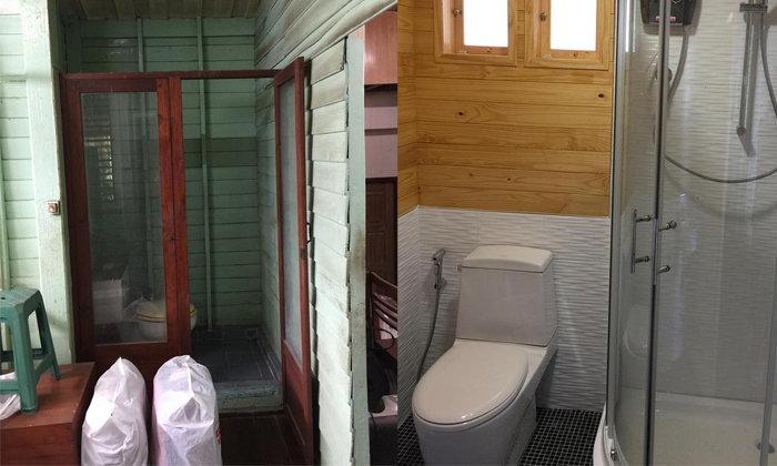 รีโนเวทห้องน้ำใหม่บนบ้านไม้หลังเก่าอายุกว่า 50 ปี