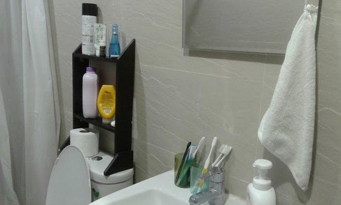 DIY ชั้นวางของไม้บนชักโครก สำหรับห้องน้ำพื้นที่น้อย