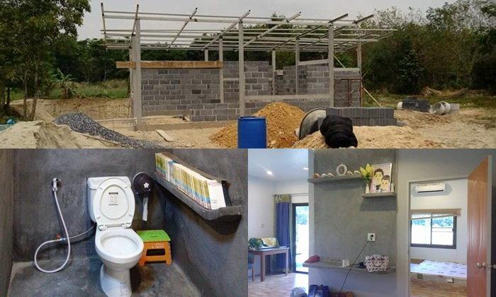 รีวิวการสร้างบ้านชั้นเดียว บ้านน้อยกลางสวนในงบ 4 แสน