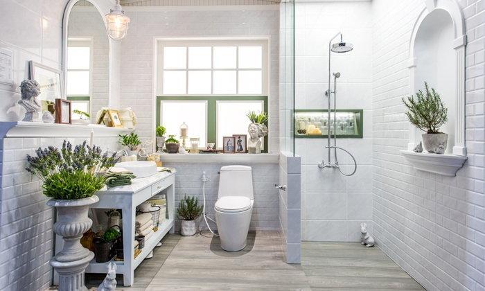 ตกแต่งห้องน้ำสวยงาม แบบฉบับสวยในโทนสีสว่าง