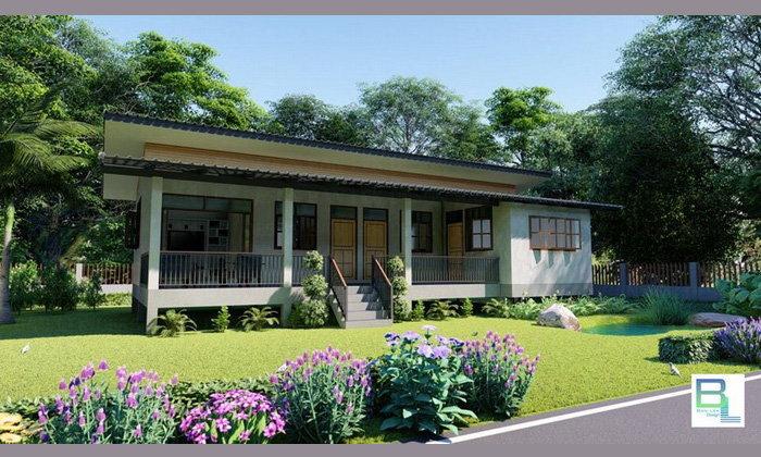 แบบบ้านเพิงหมาแหงนสไตล์ลอฟท์ 2 ห้องนอน 2 ห้องน้ำ ดีไซน์มีเอกลักษณ์ สวยงามในรูปแบบปูนเปลือย