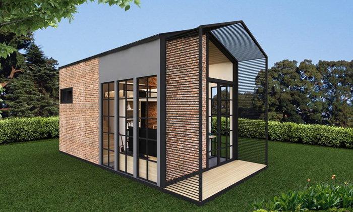 แบบบ้านสำนักงาน บ้านสำเร็จรูปโฮมเมท บ้านคือที่ทำงาน ที่ทำงานคือบ้าน ระบบก่อสร้าง PREFAB 1 ห้องนอน 1 ห้องน้ำ งบ 280,000 บาท