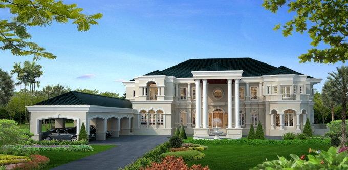 แบบบ้านหรู 2 ชั้น สไตล์ Pacific  Coast โดยบริษัทรับสร้างบ้านริชชี่ เฮ้าส์