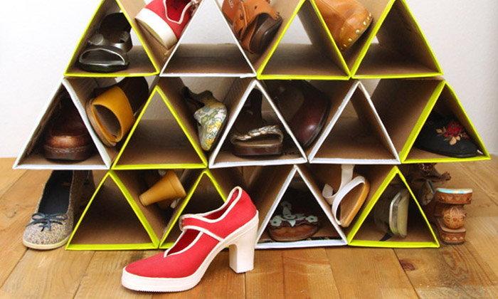 สุดเก๋! งาน DIY ที่เก็บรองเท้า จากกระดาษลัง