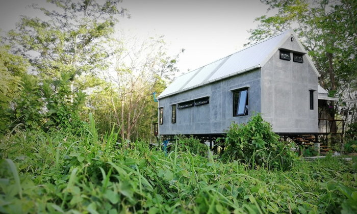 บ้านปูนเปลือยกลางสวนยาง สร้างด้วยรัก พักด้วยใจ