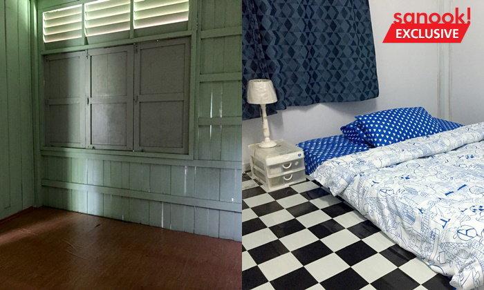 """ครูสอนศิลปะชุบชีวิต """"ห้องนอนบ้านพักครู""""อายุ 40 ปี เป็นห้องนอนสไตล์เรียบเท่ ใช้งบแค่ 7 พัน"""