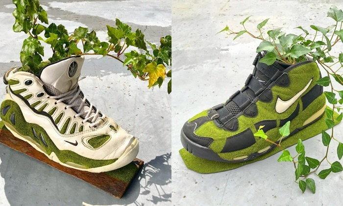 แบบนี้ก็ได้เหรอ! ศิลปินญี่ปุ่นแปลงโฉมรองเท้า Nike เป็นกระถางต้นไม้