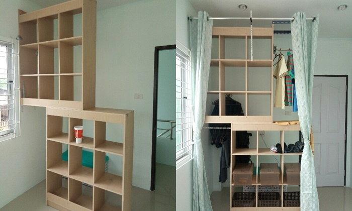 "DIY  ""ชั้นวางของ"" กลายเป็น ""ตู้เสื้อผ้าวอล์คอิน""ทำง่ายๆ แบบบ้านๆ แต่ใช้งานได้จริง"