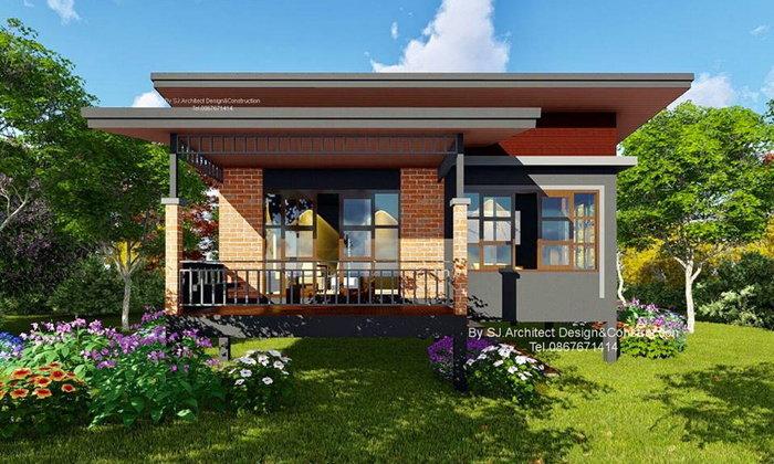 แบบบ้านยกพื้นแนวปูนเปลือย ทรงโมเดิร์นเพิงหมาแหงน 2 ห้องนอน 1 ห้องน้ำ งบก่อสร้าง 800,000 บาท
