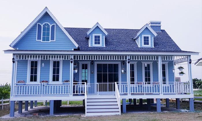 """รีวิว """"ระเบียงบ้านสุดอบอุ่น"""" โทนสีฟ้าสบายตา กลิ่นอายบ้านเมืองหนาว น่าพักผ่อนในทุกอิริยาบถ"""