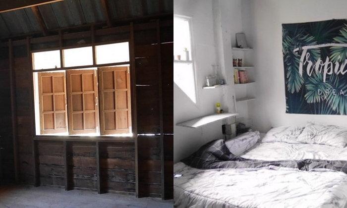 """รีวิว """"รีโนเวทห้องนอน"""" เปลี่ยนจากห้องนอนไม้เก่าๆ เป็นห้องนอนสีขาวแสนสวย ด้วยงบประมาณเพียง 2,530 บาท"""