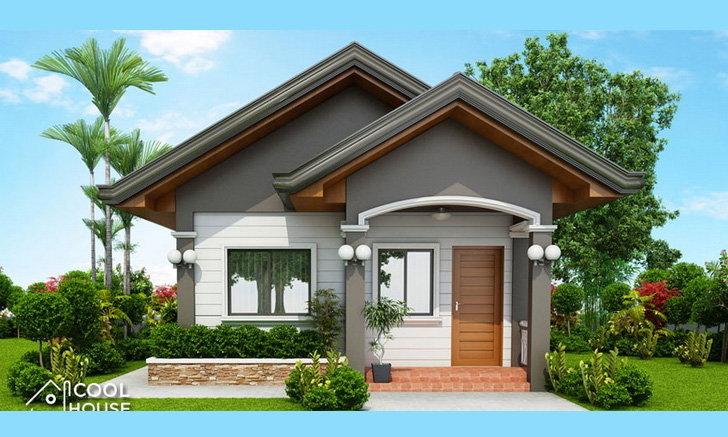 แบบบ้านโมเดิร์นชั้นเดียวขนาดเล็ก หลังคาทรงหน้าจั่ว 2 ห้องนอน 1 ห้องน้ำ พื้นที่ใช้สอย 50 ตารางเมตร