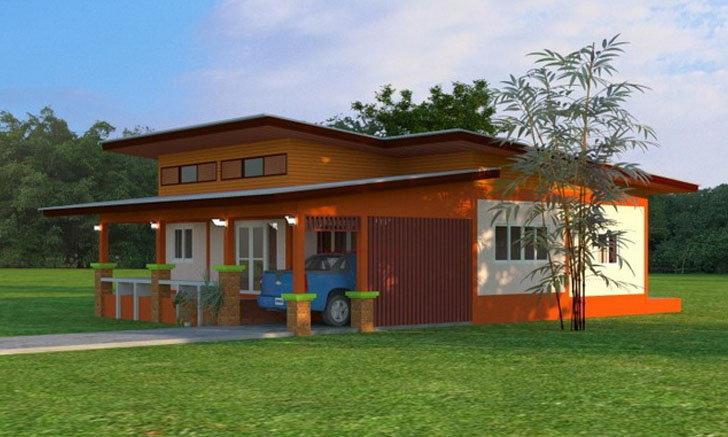 แบบบ้านโมเดิร์นขนาดชั้นเดียว 3 ห้องนอน 2 ห้องน้ำ มีเฉลียงโปร่งสำหรับรับแขก แฝงการออกแบบที่เข้ากับชนบท