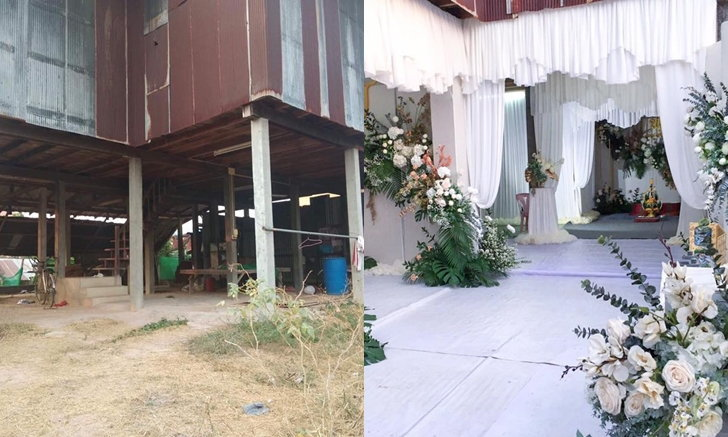 เปลี่ยนใต้ถุนบ้านไม้ เป็นห้องแกรนด์บอลรูม เนรมิตงานแต่งในบรรยากาศโรงแรม 5 ดาว