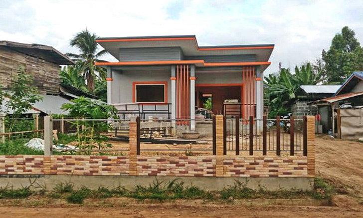 บ้านเรียบง่ายสไตล์โมเดิร์น โทนสีเทาตัดส้ม 2 ห้องนอน 1 ห้องน้ำ งบประมาณ 700,000 บาท