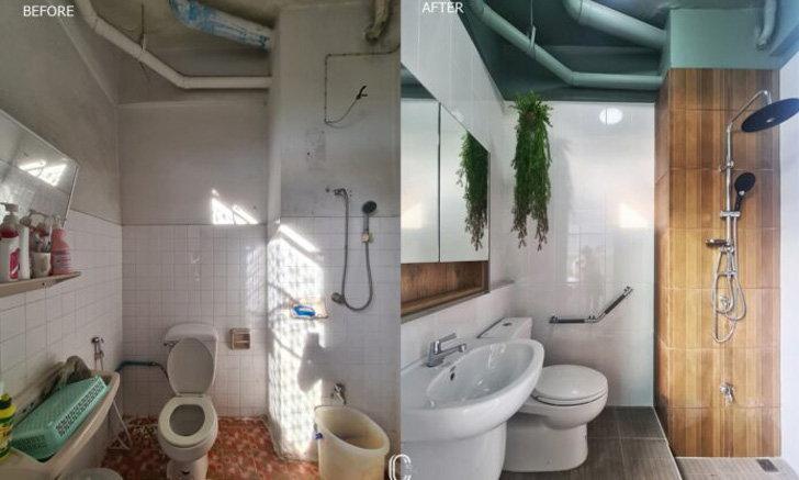 """รีโนเวท """"ห้องน้ำและห้องครัวการเคหะฯ"""" เพิ่มฟังก์ชันรองรับผู้ป่วย พร้อมยกเครื่องใหม่ด้วยโทนสีเขียวสดชื่นสบายตา"""