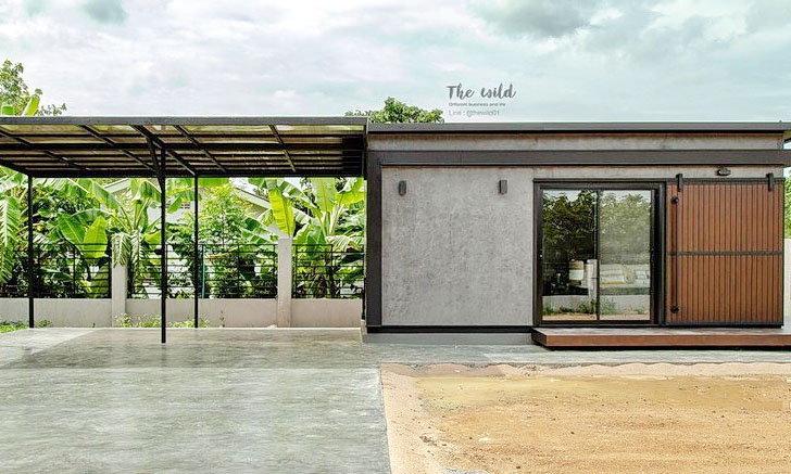 บ้านน็อคดาวน์หลังเล็กสไตล์อินดัสเทรียล พร้อมที่จอดรถ 1 ห้องนอน 1 ห้องน้ำ พื้นที่ 18 ตร.ม.