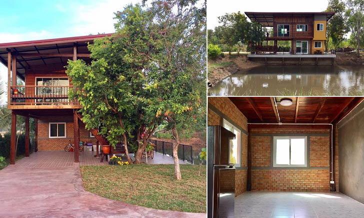 บ้านสวนริมน้ำสองชั้นสวยงามจากปูนเปลือย ลงตัวกับวัสดุไม้สุดคลาสสิค พร้อมมุมพักผ่อนริมน้ำ