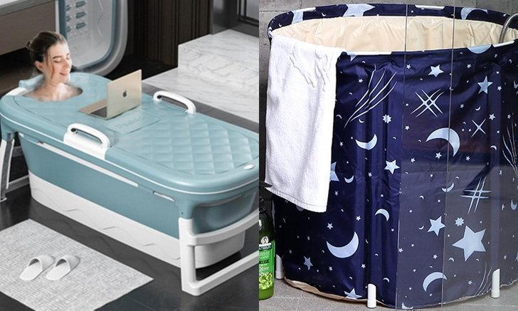 """ร้อน...อยากนอนแช่อ่าง รวม """"อ่างอาบน้ำพับได้"""" ราคาไม่แรง ตั้งตรงไหนก็ได้"""