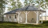 ศาลากึ่งบ้านสวน ออกแบบสไตล์ร่วมสมัย พร้อมเฉลียงแปดเหลี่ยมหน้าบ้าน