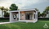 แบบบ้านชั้นเดียวสไตล์โมเดิร์นมินิมัล หลังเล็กกะทัดรัด 60 ตร.ม. มีระเบียงหน้าบ้านรับธรรมชาติ และอากาศสดใส