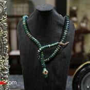 Scarab Snake Necklace with Citrine, Pink Tourmalines สร้อยคอปีกแมลงทับ ดีไซน์รูปงู