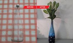 DIY เพนท์สีขวดน้ำเปลี่ยนเป็นแจกันดอกไม้ ตกแต่งห้องแบบประหยัดงบ
