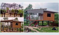 สร้างบ้านงบไม่ถึงแสน บ้านทรงใต้ถุนขนาดเล็กพร้อมระเบียงรับลม กับงบประมาณเพียง 85,000 บาท