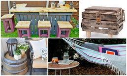 ง่ายๆ DIY การตกแต่งลานบ้านของคุณด้วยเฟอร์นิเจอร์ทำจากไม้รองของถูกๆๆ