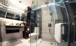 รีโนเวท แต่งห้องน้ำคอนโดเก่า ให้เป็นห้องน้ำโมเดิร์น ขาวดำ สไตล์โรงแรม
