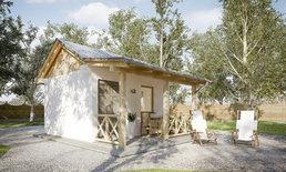 แบบบ้านกระท่อมสีขาว ชั้นเดียวเหมาะเป็นบ้านตากอากาศ บ้านสวน