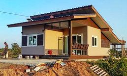 แบบบ้านชั้นเดียวยกพื้นบ้านไร่ปลายนา ดีไซน์ทรงเหลี่ยมโมเดิร์น 54 ตรม.งบการก่อสร้าง 3.5 แสนบาท