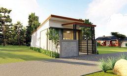 แบบบ้านสไตล์โมเดิร์น ดีไซน์รูปทรงตัวไอ (I-Shaped House) 2 ห้องนอน 1 ห้องน้ำ พร้อมที่จอดรถ (มีแปลนภายใน)