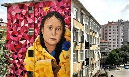 """ศิลปินเพนท์ภาพ """"เกรตา ธันเบิร์ก"""" นักเคลื่อนไหวออทิสติก บนอาคารในตุรกี"""