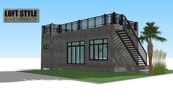 แบบบ้านโมเดิร์นลอฟท์พร้อมดาดฟ้าเปิดโล่งขนาด 1 ห้องนอน 1 ห้องน้ำ งบก่อสร้างราว 400,000 บาท