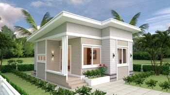 แบบบ้านหลังเล็กชั้นเดียว ดีไซน์โมเดิร์น 2 ห้องนอน 1 ห้องน้ำ บนพื้นที่ใช้สอยสุดประหยัด 49 ตร.ม.