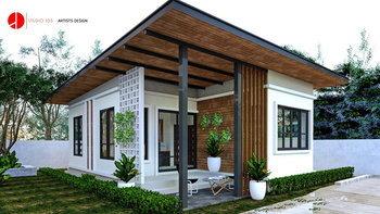 แบบบ้านโมเดิร์นขนาดเล็ก พร้อมฟังก์ชั่นแนวๆ 2 ห้องนอน 1 ห้องน้ำ พื้นที่ใช้สอย 55 ตร.ม.
