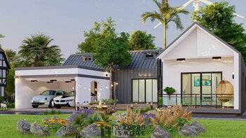 แบบบ้านสไตล์นอร์ดิก 2 ห้องนอน 3 ห้องน้ำ พื้นที่ใช้สอยรวม 131 ตารางเมตร