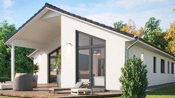 แบบบ้านโมเดิร์นทรงจั่ว มีเฉลียงไม้หน้าบ้าน ภายในทันสมัยและเน้นดีไซน์เปิดโล่ง