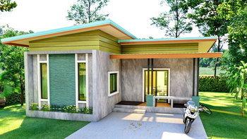 แบบบ้านชั้นเดียวสไตล์โมเดิร์นลอฟท์ ภายนอกตกแต่งด้วยปูนเปลือยสวยดิบ 1 ห้องนอน 1 ห้องน้ำ พื้นที่ 69 ตร.ม.