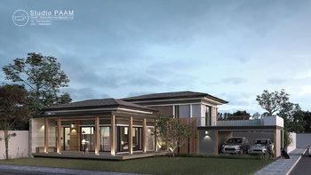 แบบบ้าน Modern Tropical ชั้นครึ่ง ตั้งอยู่เชิงเขา มีระเบียงชมวิวสุดชิล งบสร้าง 2.8 - 3 ล้านบาท