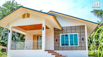 บ้านชั้นเดียวสไตล์คอนเทมโพรารี ออกแบบหลังคาทรงหน้าจั่ว 2 ชั้น 2 ห้องนอน 1 ห้องน้ำ