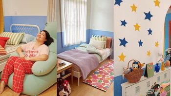 """""""มิกิ น้องสาวแพนเค้ก"""" เนรมิตห้องนอน ทาสีเอง รีโนเวทจนกลายเป็นห้องคัลเลอร์ฟูล"""