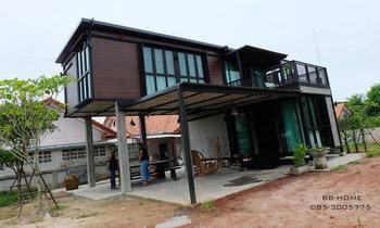 แบบบ้านสองชั้น ยกพื้นใต้ถุนสูง โครงเหล็กน็อคดาวน์ 2 ห้องนอน 2 ห้องน้ำ By BB-Home