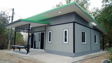 บ้านน็อคดาวน์ขนาดกะทัดรัด ฟังก์ชันเรียบง่าย สวยงามเหมือนบ้านปูน 2 ห้องนอน 1 ห้องน้ำ งบประมาณ 550,000 บาท